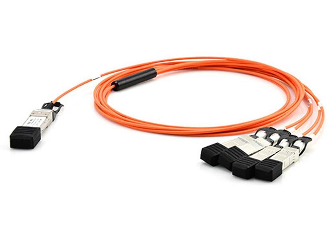 マークダウン箱こねるLODFIBER AFBR-7IER20Z Avago対応互換 20M 40GBASE QSFP+ と 4 SFP+ AOCアクティブ光ファイバケーブル