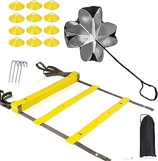 مجموعه آموزش سرعت چابکی - شامل چتر نجات ، نردبان چابکی 20 پا ، 4 مانع قابل تنظیم ، 12 مخروط دیسک ، تمرینات بیس بال والیبال بسکتبال فوتبال از تجهیزات برای بهبود پا استفاده می کند