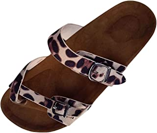 🌟Sherostore🌟 Womens Thong Flat Leopard-Printed Sandals Buckle Strappy Cork Sole