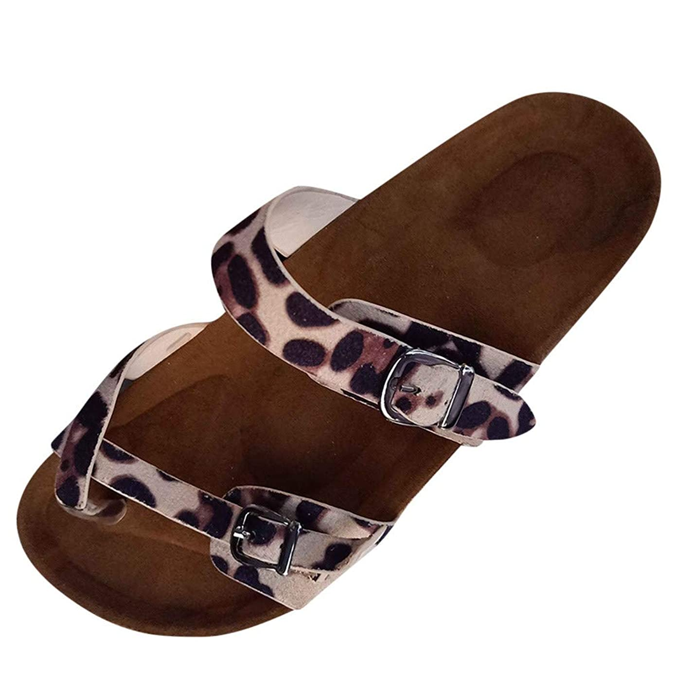Flip Flops Flat Sandals for Womens,Ladies Roman Slides Open Toe Leopard Thick-Soled Cork Slippers Beach Outdoor Shoes for Summer