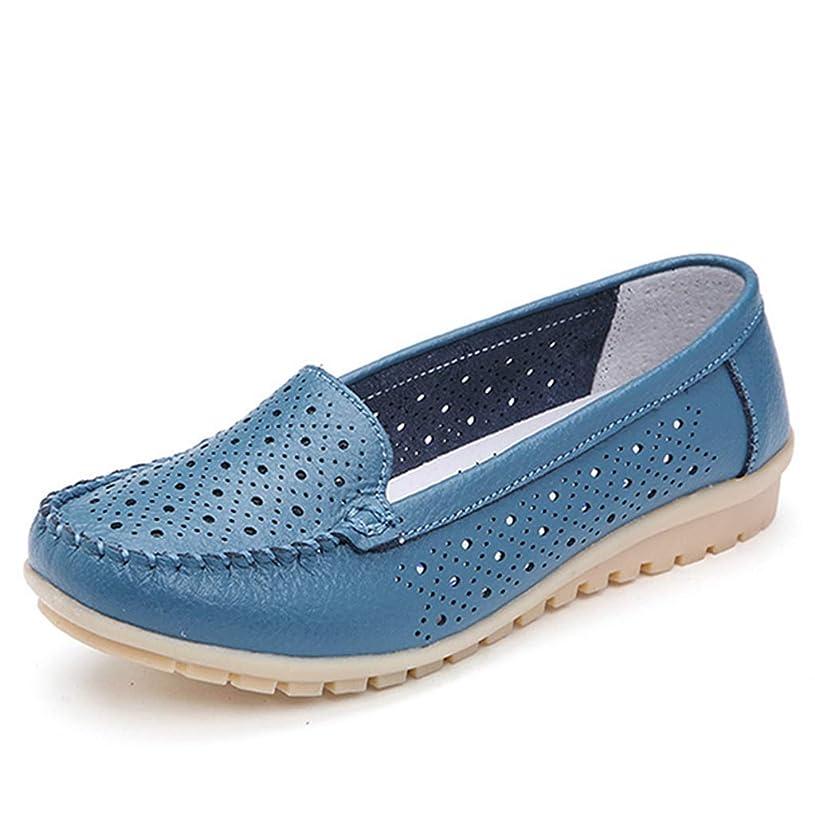 日常的により良いサイバースペース[リンゼ] 婦人靴 レディース ビットローファー ブルー おしゃれ 美脚靴 ローヒール ローファー モカシン 歩きやすい 痛くない 疲れない 履きやすい 走れる ビジネスシューズ カジュアル 防滑 通気 23.5cm ぺたんこ シンプル 靴