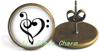 Charming Earrings,Treble and Bass Clef Heart - Music Lover Gift - Music Lover Stud Earrings,AS052