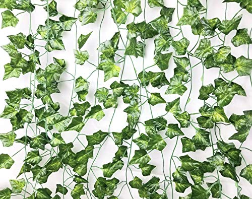 E EXCELLOUS GO BEYOND 12 Pack - 84-Ft Silk Artificial Ivy Vines Leaf Garland Plants Hanging Wedding Garland Fake Foliage Flowers Home Kitchen Garden Office Wedding Plastic Wall Decor Jungle Party