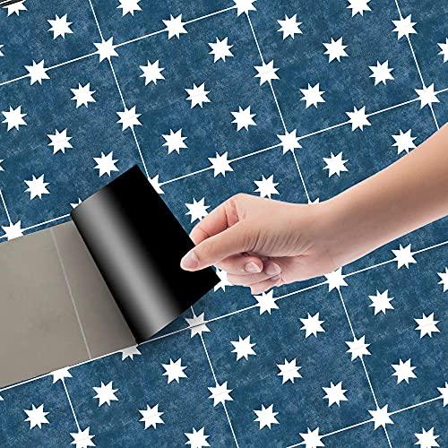 Azulejos Adhesivos Azul Pavo Real BlancoVinilosCocinaAzulejosAntisalpicadurasVinilosBañoAzulejosImpermeableVinilosdeparedDecorativosPinturaparaAzulejosAdhesivodePared 20x100cm/3pcs