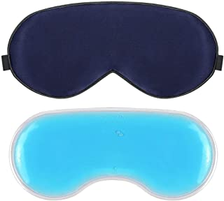 Plemo Sleep Mask, Pure Silk Eye Cover with Reusable Ice Pack for Hot and Cold Therapy, Comfortable and Super Soft Eye Mask With Adjustable Strap, Gem Blue