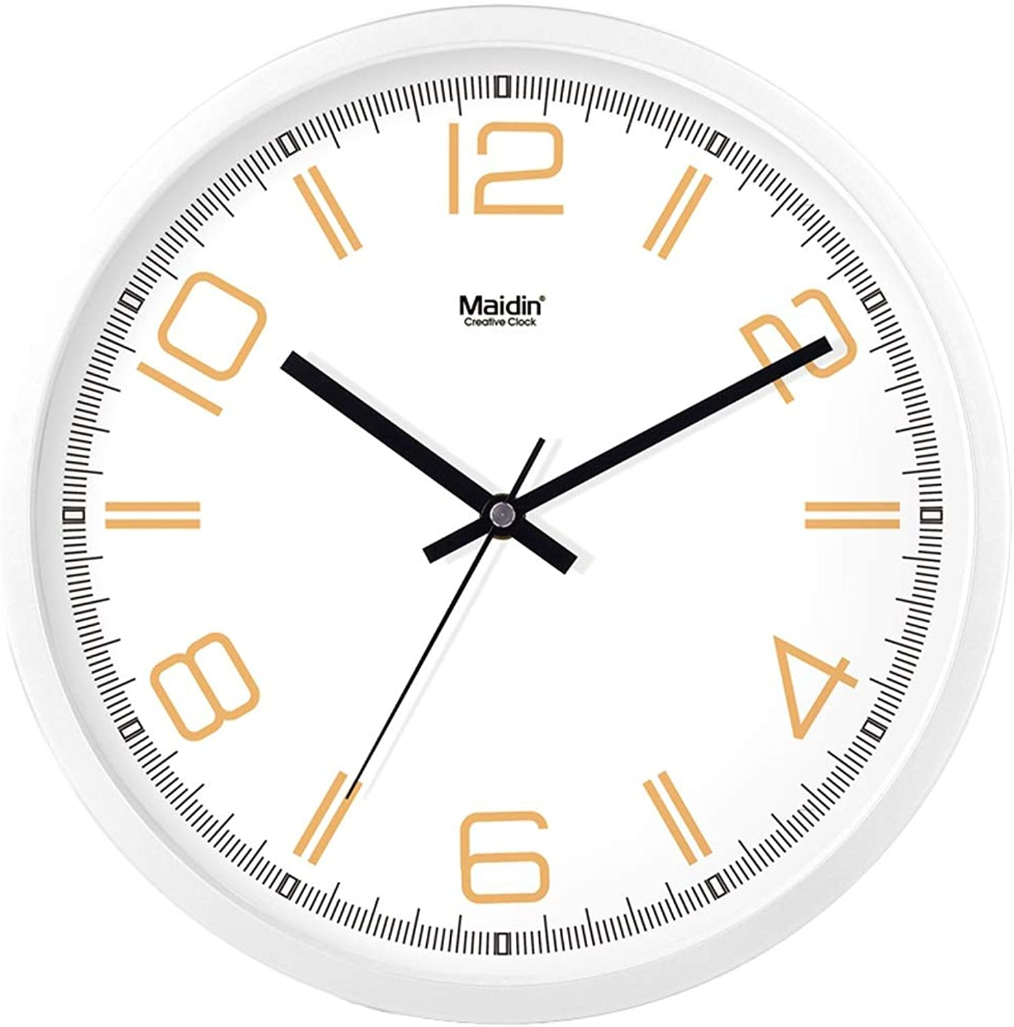 Round Silent Wall Clock Digital Design Metal Frame with Glass Dial Quartz Clock for Living Room Bedroom Office Kitchen Clock -by Virtper US (color   White1, Size   8 inch)