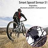 Gusspower Sensor de velocidad inteligente de 2 protocolos para bicicleta, inalámbrico, Bluetooth, sensor de ciclismo para detectar la velocidad de conducción, compatible con bicicleta de montaña