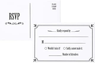 RSVP Cards - 50-Pack RSVP Postcards, Response Card, Wedding Return Cards - RSVP Reply for Wedding, Engagement Party, and Party Invitation Postage Saver, 4 x 6 Inches