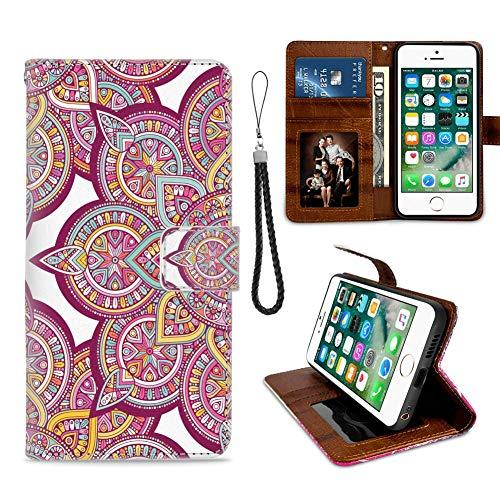 Funda tipo cartera compatible con Apple iPhone 6 | 6S (4,7 pulgadas) diseño de mandala, flores cuadradas, piel