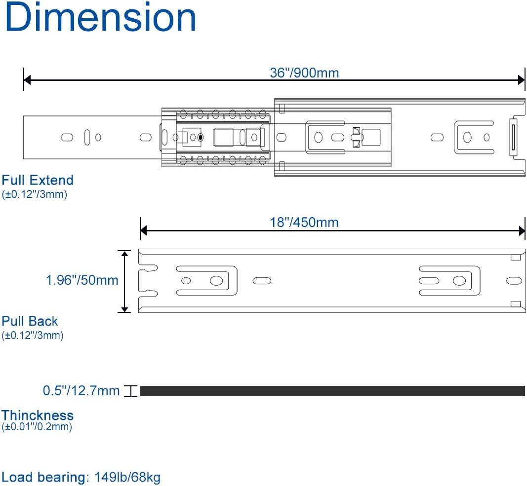 300 mm, rodamiento de bolas de extensi/ón completa, 1 par Juego de gu/ías para cajones VADANIA VA1551