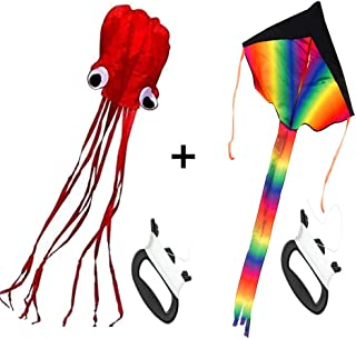 BEIXI 2 Pack Kites - Large Rainbow Delta Kite and Mollusc Octopus for Children Outdoor Game,Activities,Beach Trip Great Gift to Kids Childhood Precious Memories (Red)