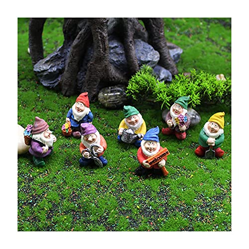 Iusun Fairy Garden Decoration, Moss Micro Landscape Decor Garden White Beard Dwarf Doll Gnome Ornaments Gifts, Bonsai Character Accessories Elf, Small Resin Handmade Crafts for Ideal Kids Gifts (G)