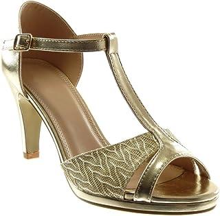 Para Doradas Amazon Mujer esSandalias Tacon Zapatos n0kw8OP