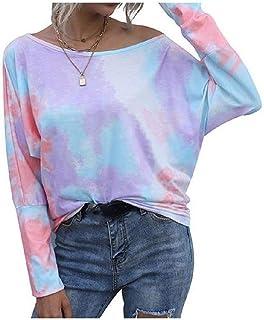 Comaba Womens Blouse Long Sleeve Casual Slim Fit Tie Dye Crewneck Tees Top