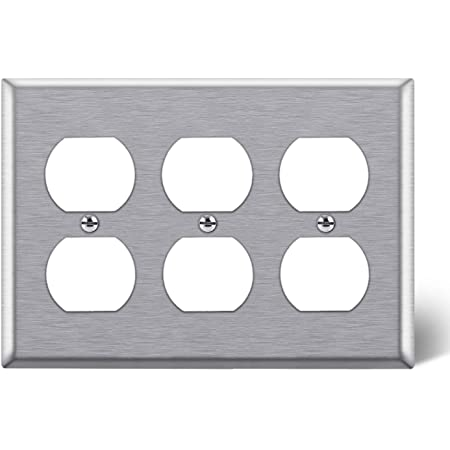 Standard Size 4.5 x 6.375 430 Stainless Steel Outlet Cover BESTTEN 3-Gang Decor Metal Wall Plate UL//cUL Listed Silver