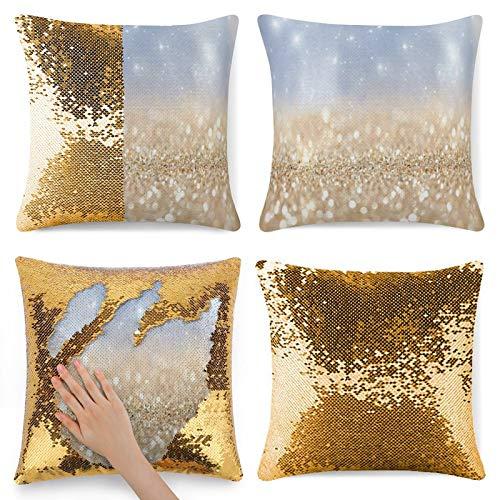 Oro y blanco Glitter fondo de almohada de brillo dorado