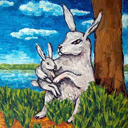 Bunny Rabbit mother and child decor animal art tile coaster gift