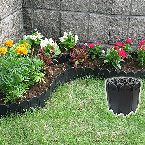 OUPAI Bloqueador Solar de Malla Borde de paisaje de martillo, jardinería de jardinería, jardín de plástico sin excavación de trabajo pesado y frascos de plástico y paisaje de 3 m de longitud con ojale