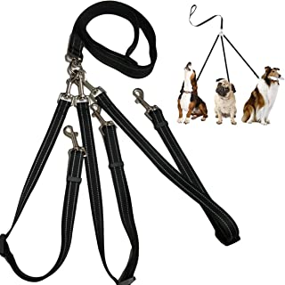 Yuehuam 3 Way Dog Leash with Padded Handle Pet Reflective Safety Lead Leash No Tangle Detachable 3 in 1 Multiple Dog Tripl...