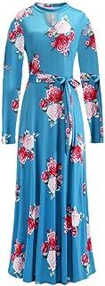 FDBZ Floral Print Short Sleeve Long Dress Summer Casual Slim Maxi Dress Women Elegant Belt Bodycon Party Dress |Dresses,1022-12LongDeepGreen,5XL