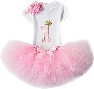Gagacity 3pcs Geburtstag Kleider Für Mädchen Baby Tutu-Kleid Stirnband T-Shirt Strampler  Rock Tutu Kleid Rose/1Jahr