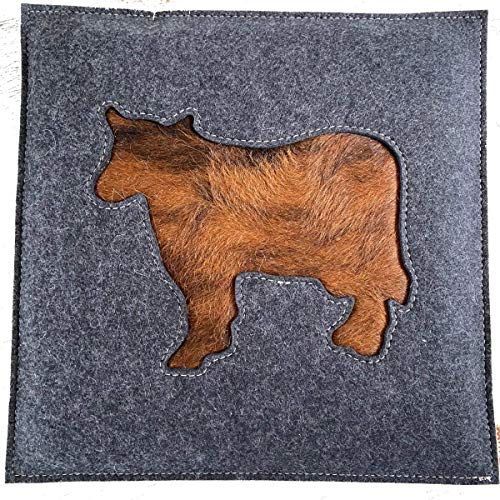Stuhlkissen BUMMERL grau Filz echtes Kuhfell Kuh Motiv Sitzkissen ca 33 x 33 cm