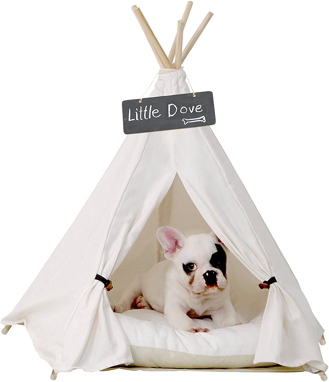 Little dove Pet Teepee Dog(Puppy) & Cat Bed  Portable Pet Tents & Houses for Dog(Puppy) & Cat Beige color 24 Inch (with or Without Optional Cushion)