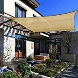 "QOZY Patio Sun Shade Sail Rectangle 10 ft. x 16.5 ft.|""Paradise Island Tan"" Canvas Sailcloth Awning – UV Deck Sail Shade Canopy | Backyard Garden Playground Pergola Carport Shade Tarp Cover"