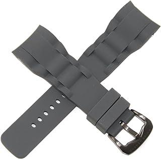 Swiss Legend 29MM Gray Silicone Rubber Watch Strap Gunmetal Buckle fits 47mm Commander Watch