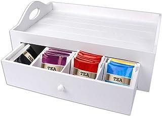 Schramm®Tea Tray Plateau de Service Blanc Avec tiroir env. 30x20x11cm Plateau à thé Tea Box Plateau à thé Country Style Bed