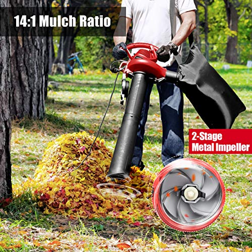 LawnMaster Red Edition BV1210 1201 Electric Blower Vacuum Mulcher 12 Amp 2-Speed Adjustment with Metal Impeller 240 MPH 380 CFM 14:1 Mulch Ratio