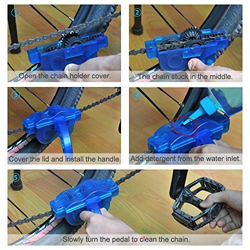 Fahrrad Kettenreinigungsgerät, Furado Kettenreiniger, Reinigung Scrubber Pinsel-Werkzeug im Set mit Ritzelbürste, Schnelles sauberes Werkzeug für Alle Arten von Fahrrad Kettenreinigung (blau) - 7