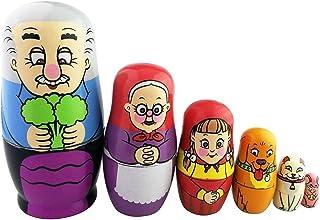 Juego de 5familia campesina rusa muñeca Glazed apilamiento juguete hecho a mano Nesting muñeca para niños regalo de Navidad calcetín stuffer