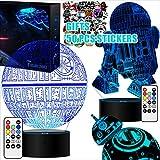 2 Basen Star Wars Geschenke 3D Lampe für Männer - Star Wars Spielzeug Nachtlicht für kinder,7 Farbwechsel mit Fernbedienung oder Touch, Dekorieren kinder Bedroom.(4 Packs-Bigger-Heller)