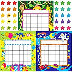 USA DESIGN: Adorable incentive charts in 3 designs (Gift Theme, African Animal Theme, Planet Theme), made from photo-grade paper with bright eye-catching illustration, 81 sheets with 480 star stickers. Perfect for motivating children to form a nice b...