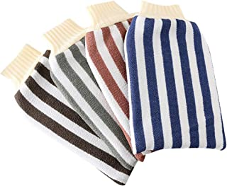 TOPBATHY 4pcs Deep Exfoliating Bath Gloves Thickened Striped Bath Scrubbing Mitts Kitchen Dish Wash Towel Cleansing Tool For Women Men Shower Spa