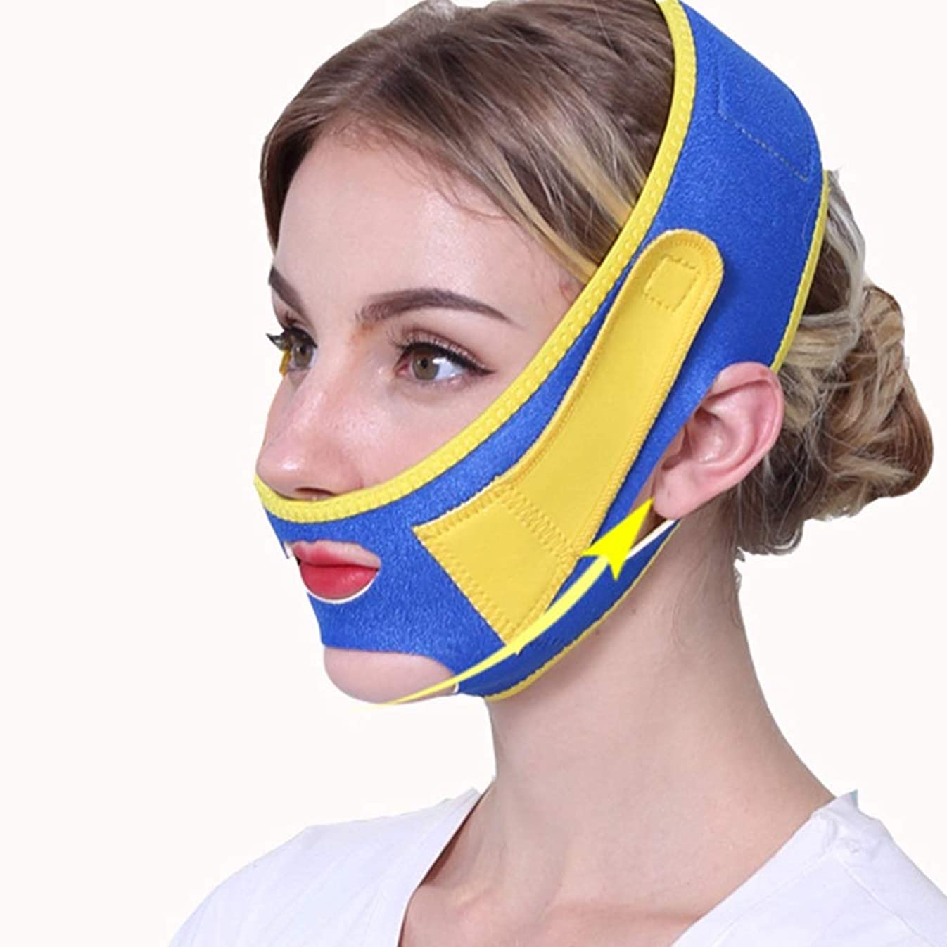 閉じる水曜日補助金BS フェイシャルリフティング痩身ベルトフェイス包帯マスク整形マスクフェイスベルトを引き締める薄型フェイス包帯整形マスクフェイスと首の顔を引き締めスリム フェイスリフティングアーティファクト