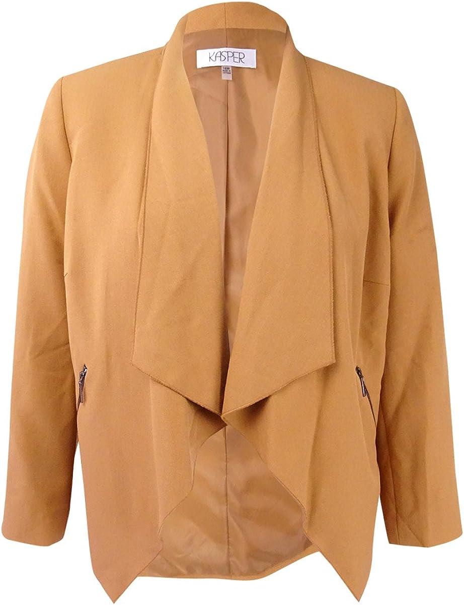 Kasper Women's Plus Size Flyaway Zipper Detail Jacket
