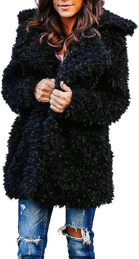 Clearance Forthery Women's Coat Lapel Fleece Faux Fur Warm Winter Outwear Jacket