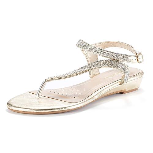 ce01aa1ac83a2 DREAM PAIRS Women s Estelle W Fashion Rhinestones Low Wedge Sandals