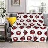 Hermosa manta de lana de cordero de labios rojos, manta de piel de zorro plateada, manta ultrasuave para sofá, cama, hombres, mujeres y bebés