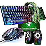 Gaming Keyboard and Mouse,5 in 1 Gaming Combo,12W HD Sound...