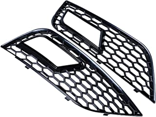 Astra Depot 1 Pair of RS4 Style Honeycomb Fog Light Lamp Grille Grill Cover Bezel Compatible with 2013-16 Audi A4 B8.5 Facelifft Models