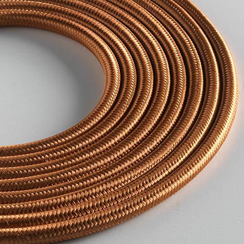 Klartext LUMIÈRE Textilkabel, rund, 3 x 0,75 mm, Bronze, 3 m langes Kabel, inklusive Erdkabel Ultimative Sicherheit