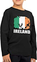 SHIRT1-KIDS Ireland Flag Football Rugby Player Toddler/Infant O-Neck Long Sleeve Shirt T-Shirt for Toddlers