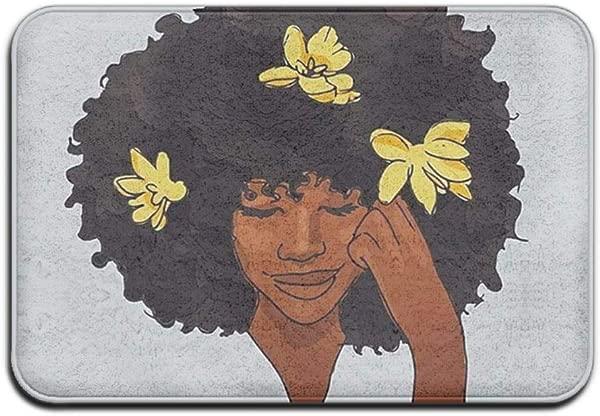 Atokker 黑色女孩魔术非洲防滑门垫家居装饰欢迎耐用室内室外入口门垫 24x 16 英寸