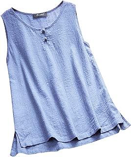 Women O-Neck Button Plus Size Vintage Sleeveless Vest Linen Tank Tops