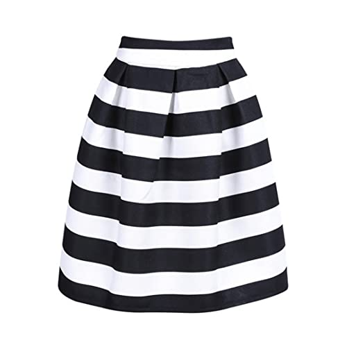 69fe550cd9 CHOiES record your inspired fashion Women's Color Block Houndstooth Print  High Waist Pleated Skater Midi Skirt