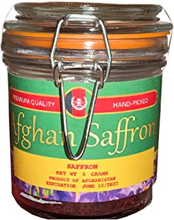 Afghan Saffron - 100% Pure Red Saffron Threads | Handpicked from Afghanistan | Naturally Grown Spice | Premium Quality Kesar from Organic Farming | Perfect Flavor for Tea, Rice (5 Grams)