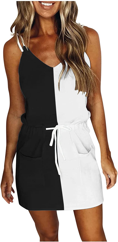 Women's V-Neck Sleeveless Strap Open Back Color Patchwork Sexy Print Loose Mini Short Dress